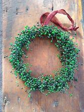 Retired Potter Barn Glass Pepperberry Beaded Christmas Wreath Green Holiday New!