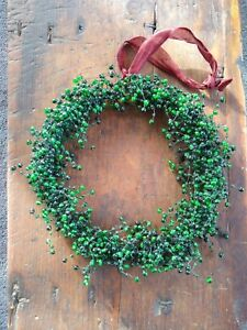 Pottery Barn Glass Pepperberry Beaded Christmas Wreath Green Holiday Retired New