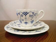 MYOTT Staffordshire England FINLANDIA Blue & White Trio Cup/Saucer/Dessert Plate