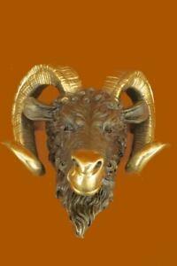 Mid Century Bronze Ram`s Head Statue Sculpture Wall Mount - Animal Horns Figure