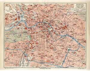 1895 GERMANY BERLIN INNER CITY PLAN Antique Map