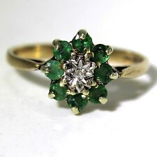 Stunning Emerald Diamond 9ct Yellow Gold Cluster Ring size P ~ 7 3/4
