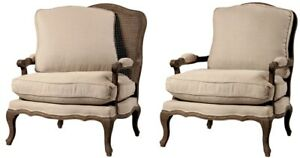 "30"" W Isauro Bergere Chair Hand Woven Rattan Back Solid Oak Linen Cushions"