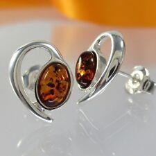 A233 Ohrringe Orstecker 925 Sterling Silber Bernstein Schmuck Modern Amber