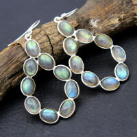 Natural Labradorite Solid 925 Sterling Silver Women Dangle Earrings Pair Jewelry