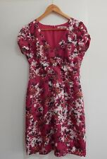 Lovely REVIEW Magenta Pink Flower Floral Pattern DRESS Cotton 10 12