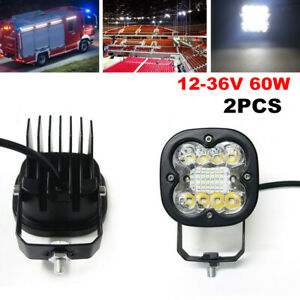 2PCS 12-36V 60W Truck Motorcycle Offroad Square LED Spot Light Driving Fog Lamps