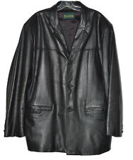DANIER Leather Men's Jacket Trench Long Sleeves Buttons Up Collared Black SZ XL