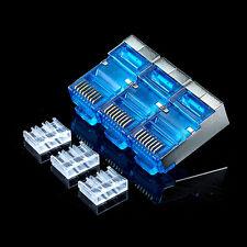 50Pcs azul conector rj45 cat6 cat6a stp conector de red 8P8C rj45 plug Connector