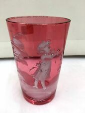 Mary Gregory Enamelled Ruby Glass Tumbler circa 1865 ref 2291