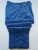 Polo Ralph Lauren Mens Cotton Corduroy Blue Slacks Pants Size 44x30 Big Man EUC