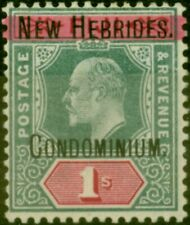More details for new hebrides 1908 1s green & carmine sg9 fine very lightly mtd mint
