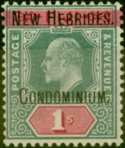 New Hebrides 1908 1s Green & Carmine SG9 Fine Very Lightly Mtd Mint