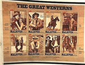 COWBOY MOVIE POSTAGE STAMPS Maldives Newman Redford McQueen Cooper Lancaster