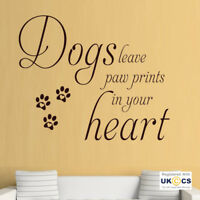 Wall Stickers Dog Paw Prints Heart Cute Pet Quote Love Hall Art Decal Vinyl Room