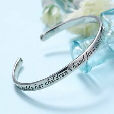"Silver ""A Mother Holds Her Children's Hand "" Cuff Bracelet Mother's Day Gift New"