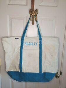 Lands End Large Canvas Tote Bag Shoulder Straps Purse Carry-All blue Bradley