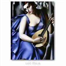 Tamara de Lempicka Donna che suona QUADRO 50x70 RIPRODUZIONE STAMPA TELA ARTE