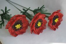 3 handmade French beaded Flowers Red Poppy Poppies