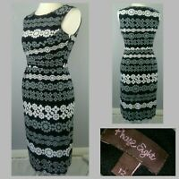 Phase Eight Midi Dress Size 12 Sleeveless Stretch Black White Grey Print