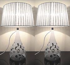 Pair of Deco Designer New Modern Table Bedside Desk Lamp Silver Shade Metal Base