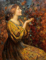 Dream-art Oil painting Thomas Edwin Mostyn portrait young woman girl with Jewels