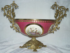 Grande coupe à fruits ou autre porcelaine limoges et bronze (67)