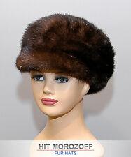 Newsboy Mahogany MINK Fur Cap Gatsby Hat Pelz Kappe Nerz Fellmütze Mütze Cabbie