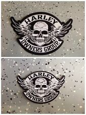 """HARLEY OWNERS GROUP LARGE & SMALL SKULL PATCH """" SHIPS INTERNATIONAL"""