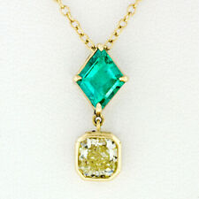 NEW 18k Gold GIA Bezel Fancy Yellow Diamond & Lozenge Emerald Pendant Necklace