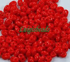 10g Opaque Red Czech SuperDuo 2-Hole Glass Seed Beads 2x5mm