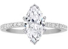 Forever One Marquise Moissanite Petite Engagement Ring Pave Band 14K White Gold