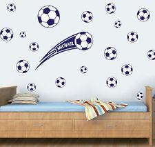 Personalizzata Calcio Pacco di 20 Blu Scuro Adesivo Parete Decalcomanie FC UTD BALL