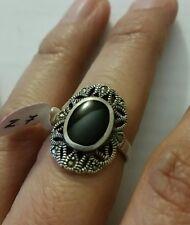 Sterling Silver .925 Vintage Design Sparkling Onyx Resin Marcasite Ring Size 7