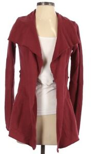 Lucky Brand Open Cardigan Tie Front Pockets XS Burgundy Red Maroon