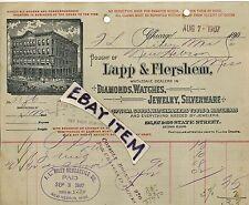 1907 billhead LAPP & FLERSHEM Chicago ILLinois DIAMONDS watches JEWELRY OpticaL