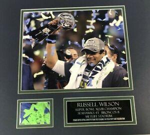 RUSSELL WILSON SUPER BOWL 48 8x10 CONFETTI FRAMED PIECE VERY UNIQUE! XLVIII