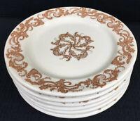 """Shenango Vintage Restaurant Ware Set Of 6 Plates 7 1/8"""" Brown Leaf Scroll USA"""