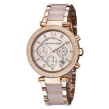 New Michael Kors Parker MK5896 Blush Rose Gold Chronograph Women's Crystal Watch