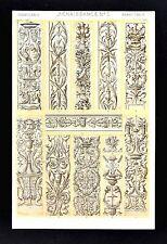 1868 Owen Jones Ornament Print Renaissance No 2 Reliefs in Florence Venice Genoa