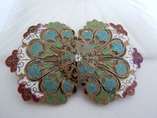Antique Vintage Art Nouveau Floral Enamel Filigree Belt Buckle Peacock Colors