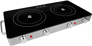 2 Electric Burner Infrared Double Hot Plate Portable Cooktop Countertop Stove