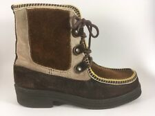 Suede and Fur Yodeler Boots Women's Sz 7-7.5 38 Brown Moc Toe Ankle Winter Italy