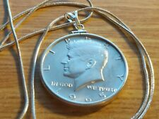"""1965 Silver Kennedy Half Dollar on an 18"""" Classic Sterling Silver Snake Chain."""