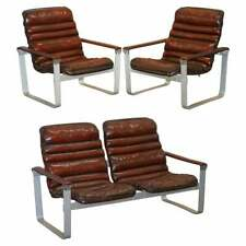 RARE 1960'S PULKKA ILMARI LAPPALAINEN CHROME & BROWN LEATHER ARMCHAIR SOFA SUITE