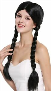 Wig Ladies Carnival 2 Braided Pigtails Centre Parting Black 60 CM
