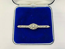 Brooch, White Gold 585 with Diamonds Art Deco, 3,88g, Length Approx. 6cm (43248)