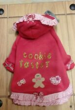Designer small dogs clothes, red fleece /ginham trim cookie taster hooded coat.