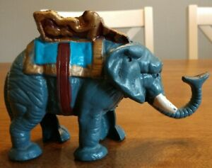 Antique Vintage Cast Iron Mechanical Bank Elephant WORKING