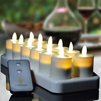 Luminara Tea Light Moving Wick Led Ivory Candles Rechargeable with Timer/Remote